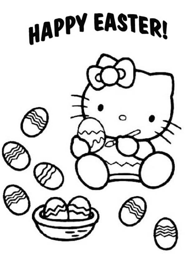 Hello Kitty Paint a Lot of Easter Eggs Coloring Page