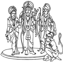 Hindu God and Goddess in Diwali Coloring Page