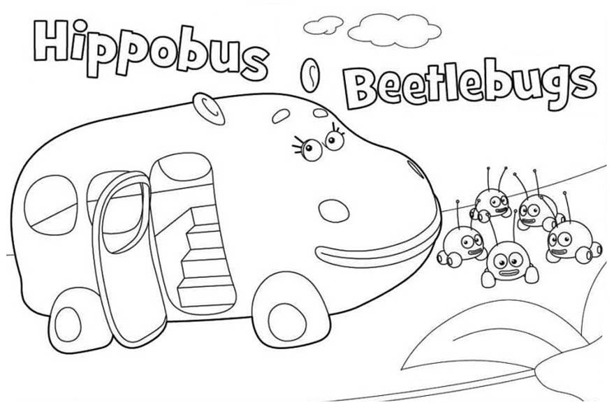 Hippobus and Beetlebugs from Jungle Junction Coloring Page