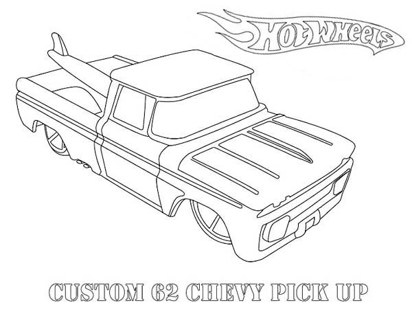 Hot Wheels Custom 62 Chevy Pick Up Coloring Page