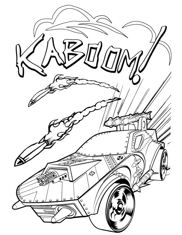 Hot Wheels Dodging Rockets Coloring Page