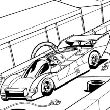 Hot Wheels Fast Car Garage Coloring Page