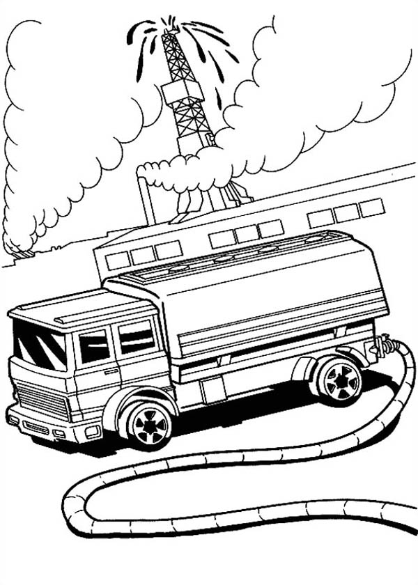 Hot Wheels Fire Fighter at Oil Field Coloring Page