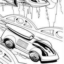Hot Wheels Futuristic Design Car Race Jet Plane Coloring Page
