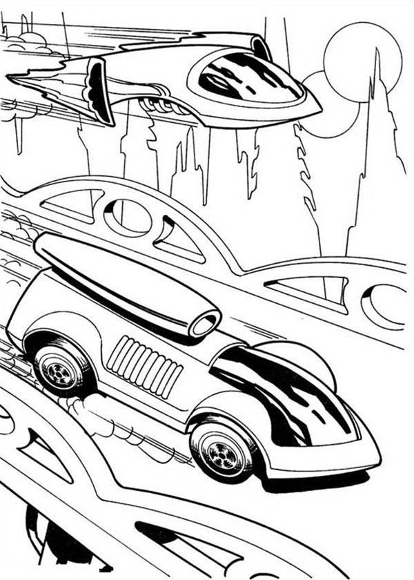 Hot Wheels Futuristic Design Car Race Jet Plane Coloring Page Netart