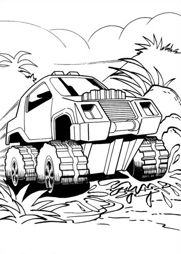 Hot Wheels Get Through the Jungle Coloring Page