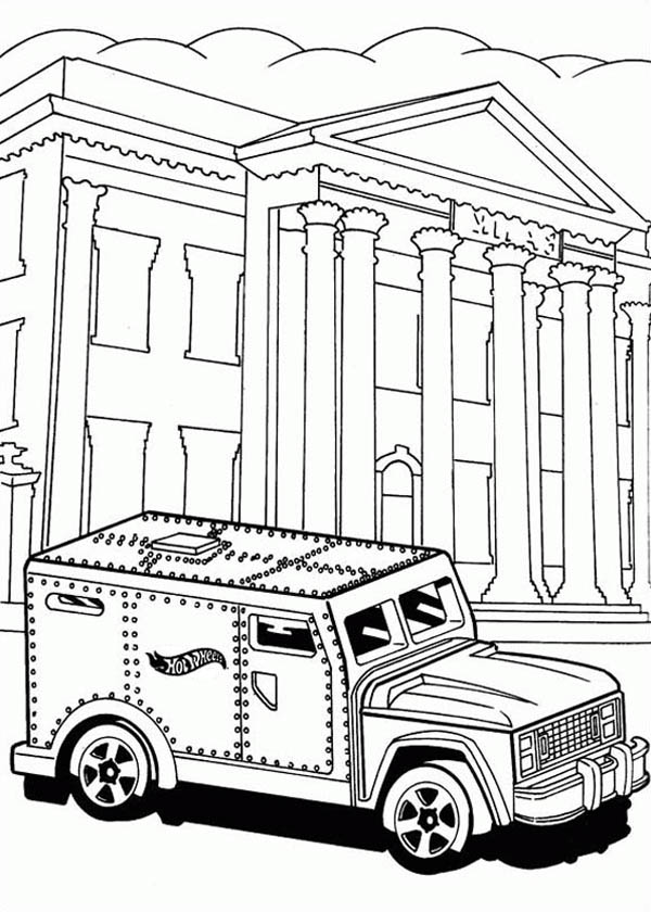 Hot Wheels Steel Car For Bank Coloring Page Netart