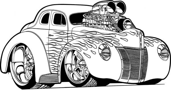 Hot Wheels Super Car with NOS Coloring Page