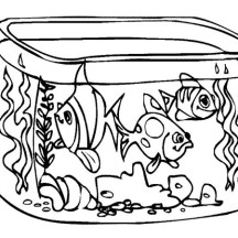 How to Draw Fish Tank Coloring Page