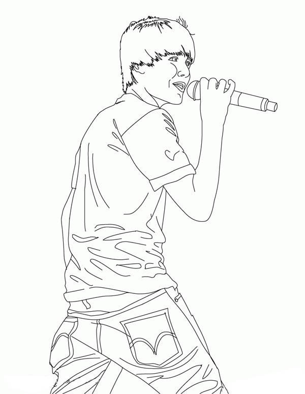 How to Draw Justin Bieber Coloring Page