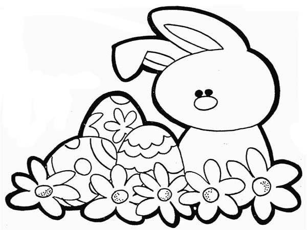 How to Draw a Rabbit and an Easter Eggs Coloring Page