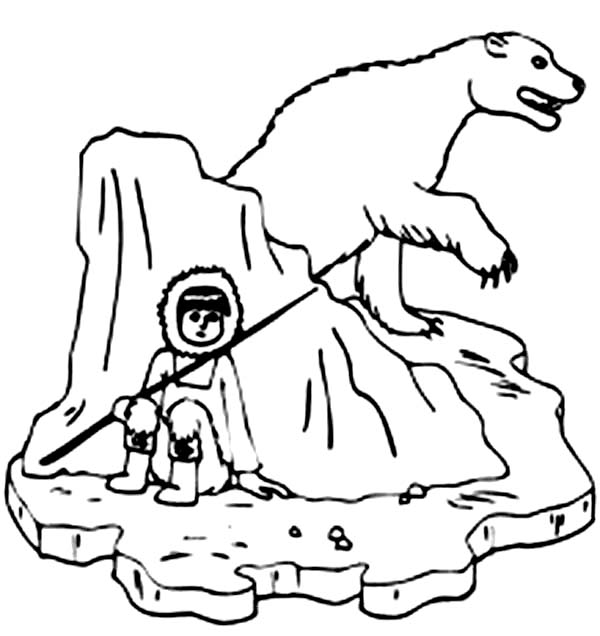 Human Hide from Polar Bear Coloring Page