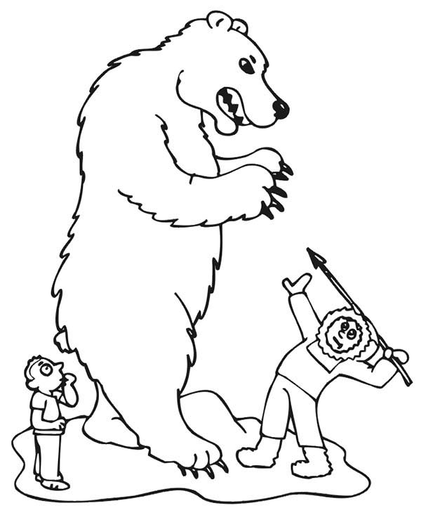Human Hunting Bear Coloring Page
