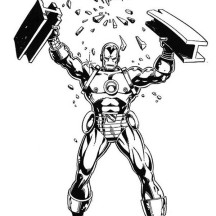 Iron Man Destroying Steel  Coloring Page