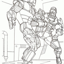 Iron Man Fight with Another Robot Coloring Page