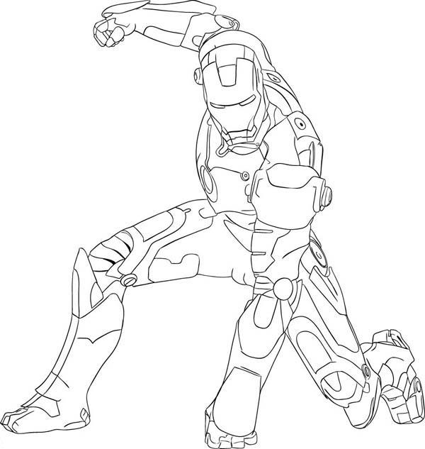 Iron Man Fighting Pose Coloring Page