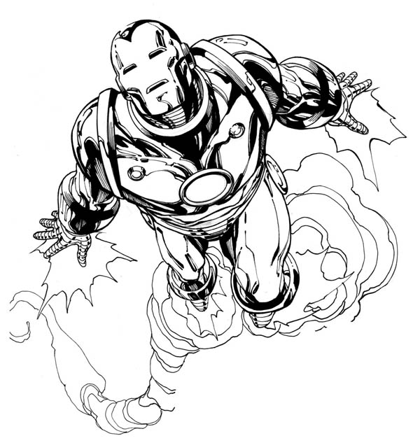 Iron Man Flying Fast Like a Jet Coloring Page