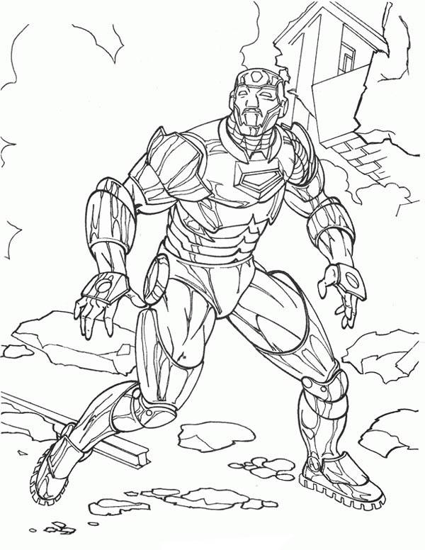 Iron Man at Buliding Ruins Coloring Page