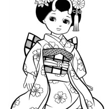 Japanese Girl Geisha Coloring Page