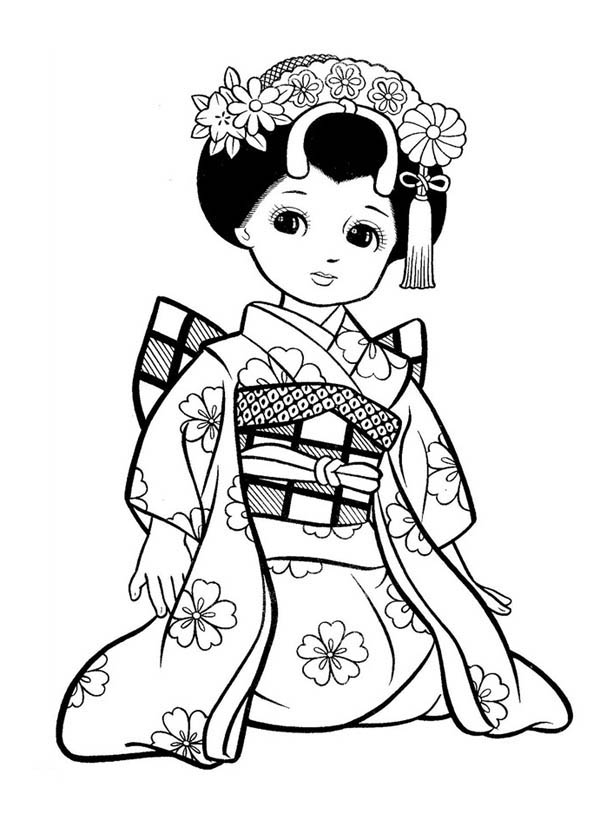 japanese children coloring pages | Japanese Girl Geisha Coloring Page - NetArt
