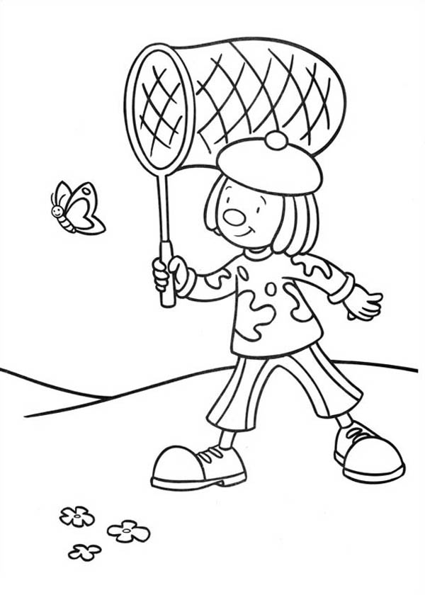 Jojo Cacthing a Butterfly in Jojo's Circus Coloring Page