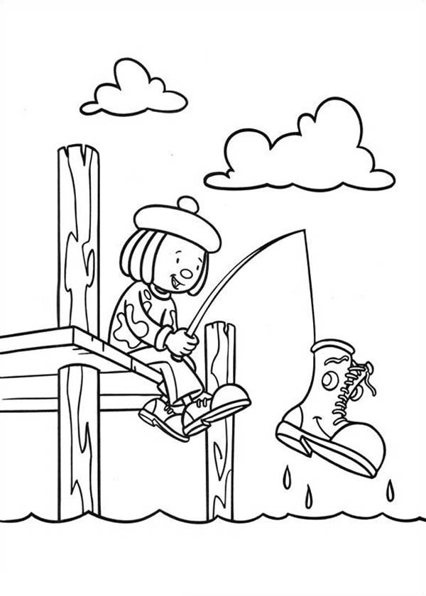 Jojo Fishing He Got Boot in Jojo's Circus Coloring Page