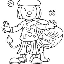 Jojo Juggle in Front of Goliat Coloring Page