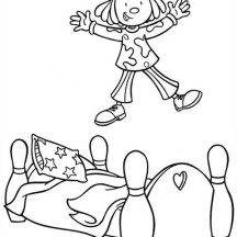 Jojo Jumping at Bed in Jojo's Circus Coloring Page