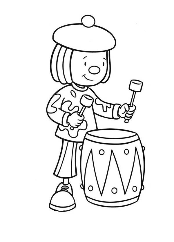 Jojo Play Drums in Jojo's Circus Coloring Page