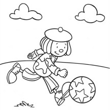 Jojo Playing Football in Jojo's Circus Coloring Page