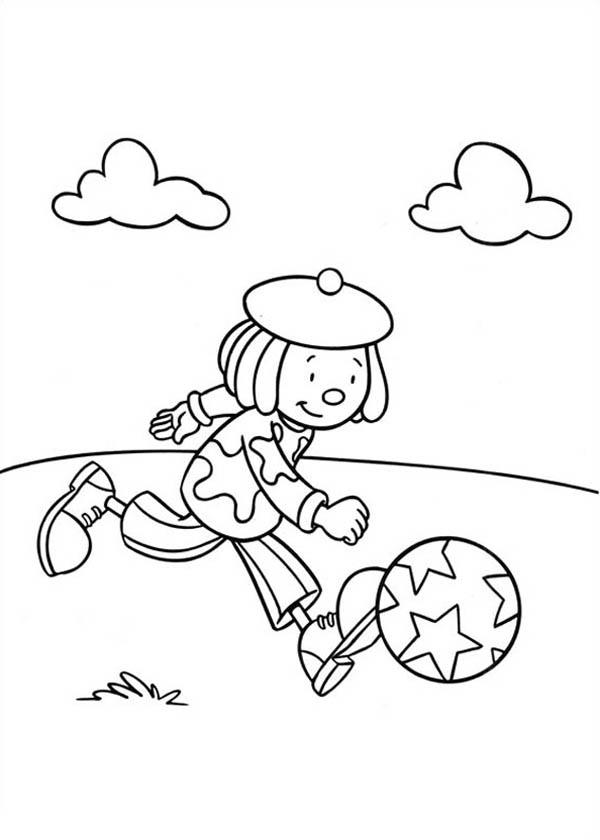 Jojo Playing Football in Jojo's Circus Coloring Page