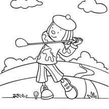 Jojo Playing Golf in Jojo's Circus Coloring Page