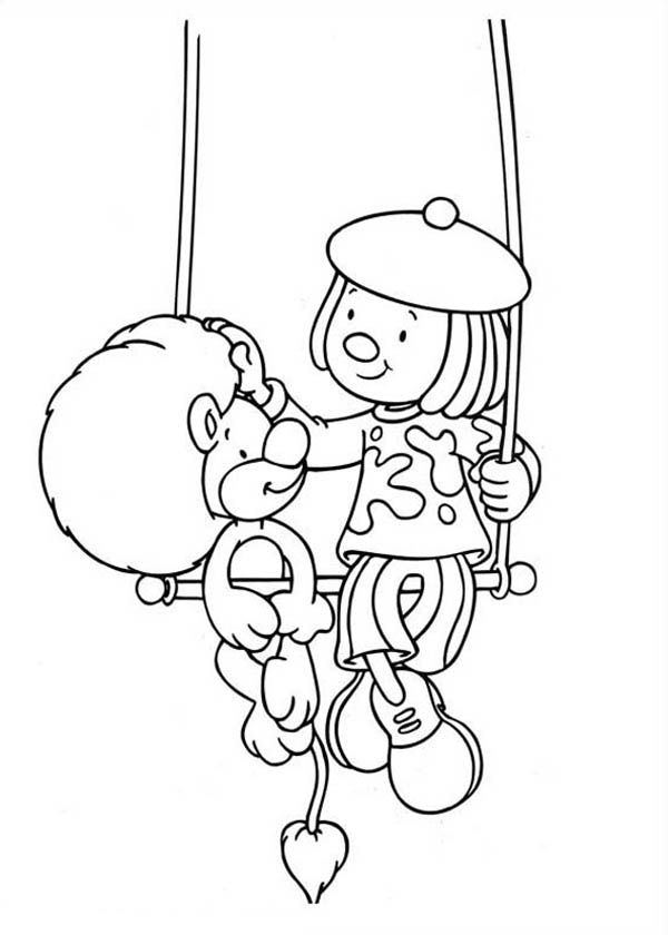 Jojo and Goliat Sitting on the Swing in Jojo's Circus Coloring Page