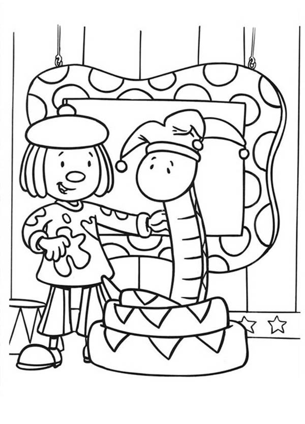 Jojo and Snake Clown in Jojo's Circus Coloring Page