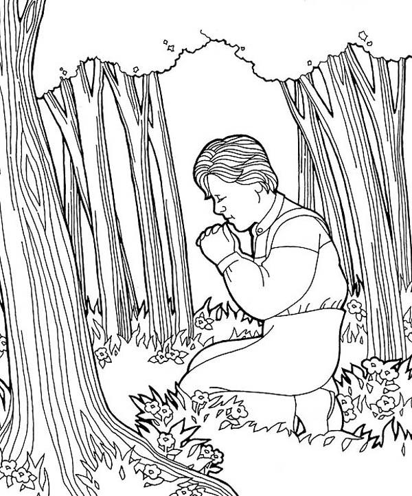 Joseph Smith Pray at Hill Cumorah Coloring Page