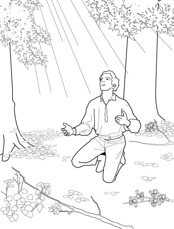 Joseph Smith Received Golden Plates from the Angel Moroni at the Hill Cumorah Coloring Page