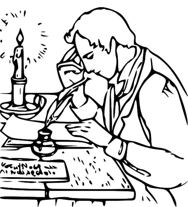 Joseph Smith Write Book of Mormon Coloring Page