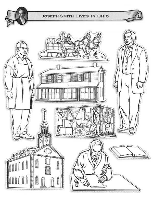 Joseph Smith and Restoration Early Christian Church Coloring Page