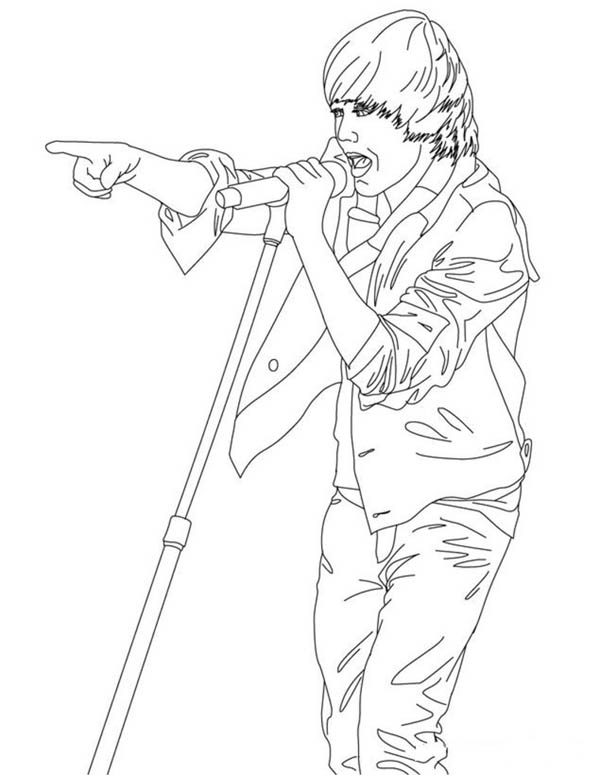 Justin Bieber Live in Concert Coloring Page
