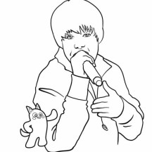 Justin Bieber Performing Coloring Page