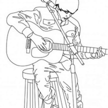 Justin Bieber Playing Guitar Coloring Page