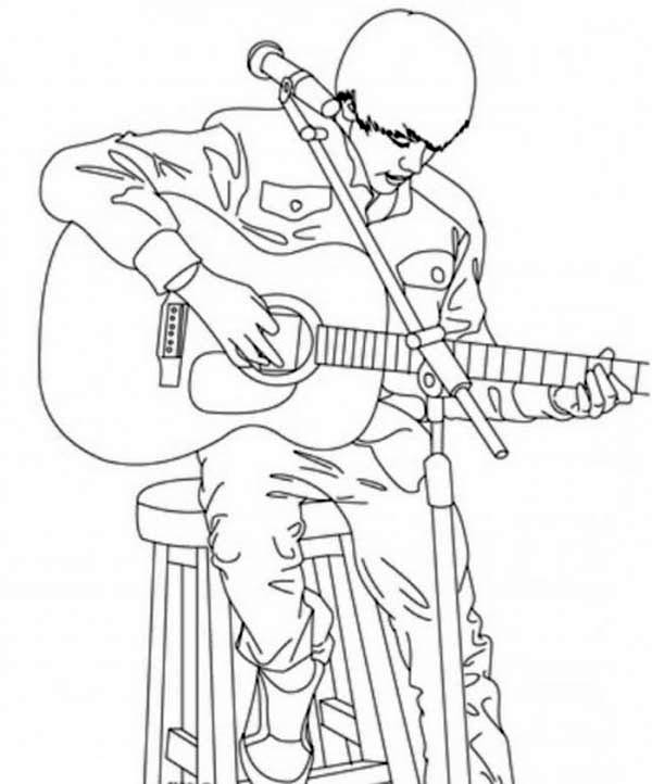 Justin Bieber Playing Guitar Coloring Page Netart