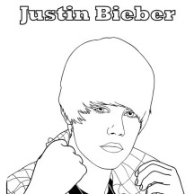 Justin Bieber Pop Collar Coloring Page