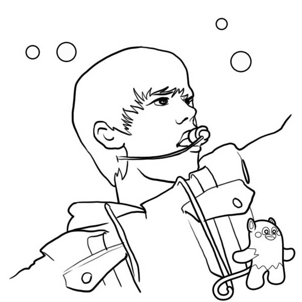 Justin Bieber Sing a Song Coloring Page