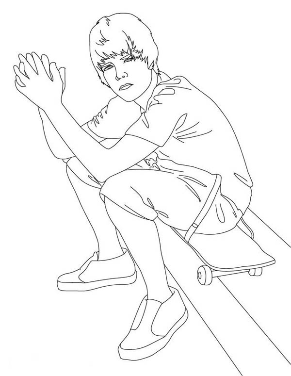 Justin Bieber Sitting on Skateboard Coloring Page
