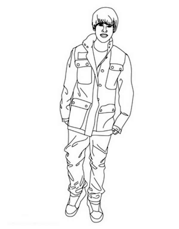 Justin Bieber Stand Up Coloring Page