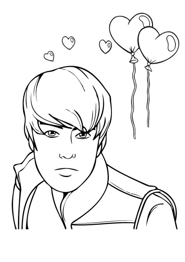 Justin Bieber Valentine Day Coloring Page