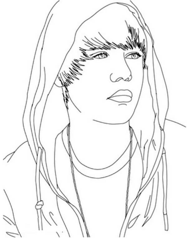 Justin Bieber Wearing Hoodie Coloring Page