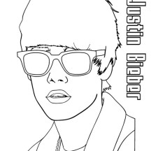 Justin Bieber Wearing Sunglasses Coloring Page