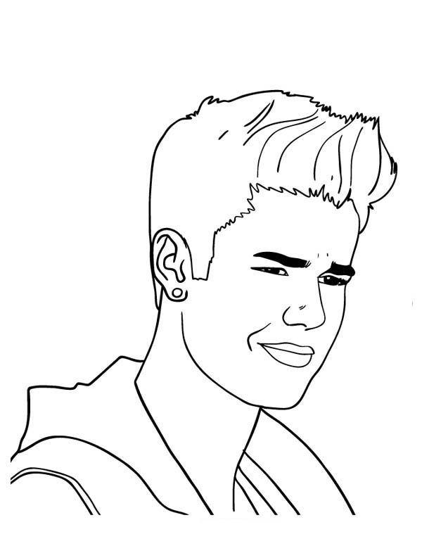 Justin Bieber With Cool Earing Coloring Page Netart